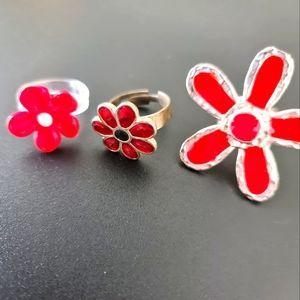 Red Flower Ring Set
